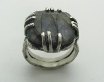 Square Labradorite Ring