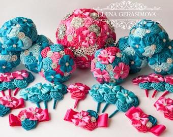 Brooch bouquet, bridesmaids bouquet, Toss bouquet, boutonniere, corsage, Wedding Accessories, Wedding set. Hot pink turquoise