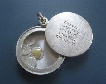 Sterling Silver name locket, personalized locket, modern locket, handmade locket, Glück, bliss