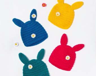 Hand crocheted Bunny ears Beanie hat. Crochet rabbit beany various colours for baby, toddler and child. Unisex.