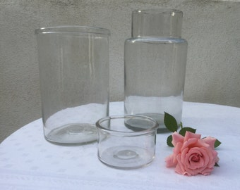 RESERVED for Kosuke さん 3 french vintage Jars, antique blowned glass , 19th Glass