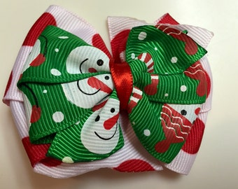 Red Polka Dots & Green Snowman Snowmen HOLIDAY CHRISTMAS Stacked Boutique Style Ribbon Bow Handmade for PETS Dog Bow Collar Accessory