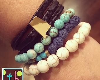 Alabama or Florida Leather Wrap Bracelet