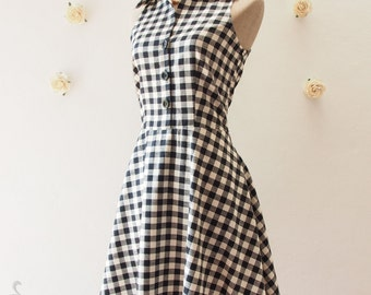Ready to Ship - Shirt Dress, Black Gingham Dress, Vintage Style Dress, Summer Sundress, Black Party Dress, Dancing Dress, Size S