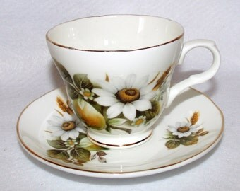 Crown Trent Teacup and Saucer Set, Apple and White Flowers
