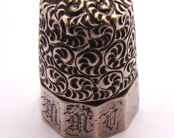 Antique Sterling Thimble Monogrammed Repousse Signed