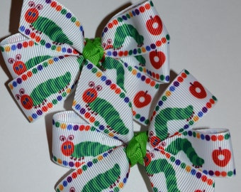 Adorable Set of Two Hungriest Caterpillar Hair Bows Stocking Stuffer Gift