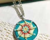 Colorful Hand Embroidered Pendant Necklace