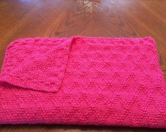 NEW ITEM - Hand Knit Blanket - Watermelon!