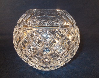 Rose Bouquet Cut Crystal Round Vase