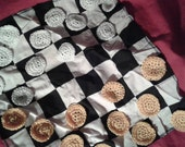 black and white checkerboard tablecloth w/ 24 crocheted game pieces to play, checkers, perfect for on the go, price includes shipping