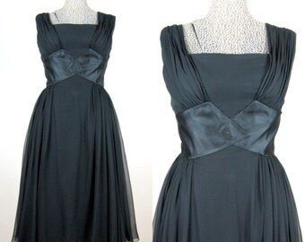 Vintage 1950s Black Silk Chiffon Dress 50s Glamorous Marilyn Style Cocktail Dress Full Skirt Size 8M 28W