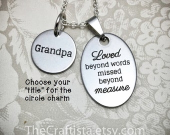 Memorial Necklace 2 Charms, Memorial Dad, Memorial Grandpa, Memorial Papaw, Memorial Uncle, Memorial Cousin, Memorial Son, Memorial Brother