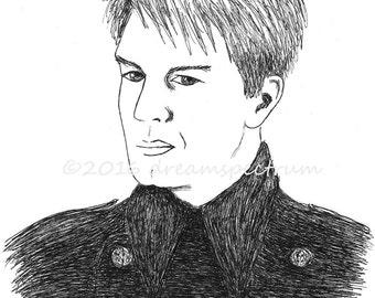 "Captain Harkness 8"" x 10"" glossy original art print, John Barrowman fan art"