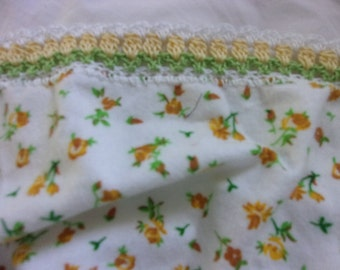 Flannel Receiving blanket -yellow posies with hand crocheted flower pattern border