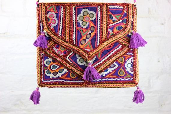 INDIAN BAG- Ethnic bag- Over the shoulder bag- Boho Satchel- Indian Bag- Gypsy Bag- Shoulder Bag- Student- Vintage Bag- Embroidered