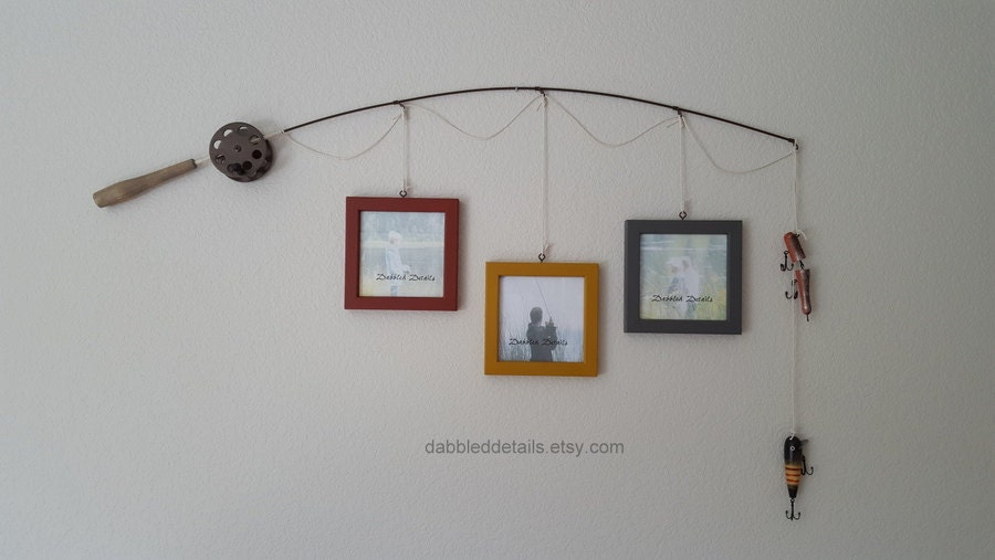 Fishing pole picture frame brown or silver pole 3 5 for Fishing picture frame