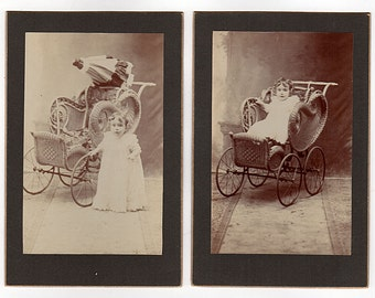 Antique Wicker Pram Photos, Adorable Toddler In and Out of Wicker Carriage, Antique Cabinet Cards, Angelic Baby in Long Dress, Curly Hair
