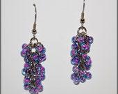 Purple Beaded Shaggy Loop Chain Maille Earrings-Cascading cluster earrings-spring summer trendy jewelry-vacation bohemian earrings-SRAJD