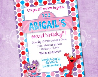 Abby and Elmo Polka Dot Fun Birthday Invite