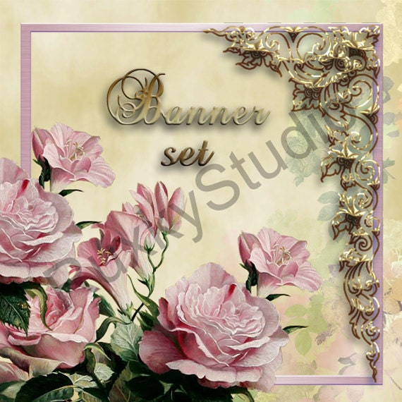 Shop Banner Set shop icon,new etsy cover/banner,avatar/profile picture -roses,vintage,jewelry,gold