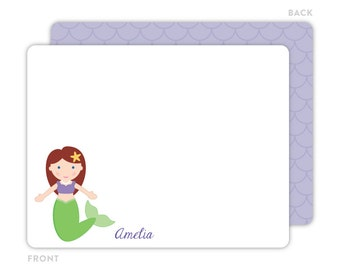Mermaid Note Cards - Personalized Flat Note Cards - Mermaid Notecards - Mermaid Thank You Cards - Children Stationery - Mermaid Stationery