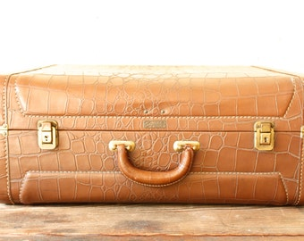 Vintage Leather Suitcase Alligator Brown Luggage Superlite