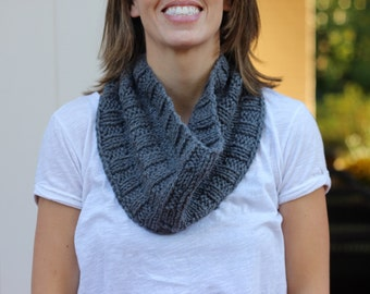 Hand Knitted Gray Cowl