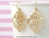 Gold Filigree Earrings, Boho Chic Bohemian Filigree Dangle Earrings, Moroccan Earrings, Bridesmaid Earrings, Bridal Shower Gift - 6030