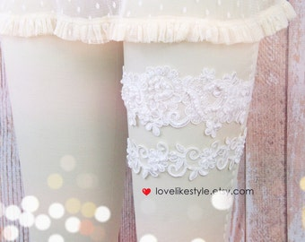 Light Ivory Pearl Beaded Lace Wedding Garter Set , Ivory Lace Garter Set, Toss Garter , Keepsake Garter  / GT-44