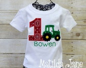 Boys or Girls Green Tractor Themed Birthday Appliqued Number Children's Shirt, Appliqued Shirt, Personalized Free,Birthday Celebration Shirt