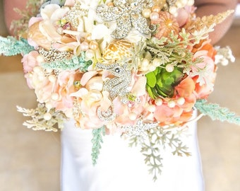 Bridal Brooch Bouquet, Alternative Bouquet, Seashell Bouquet
