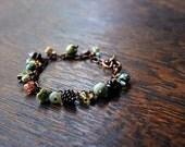 Fairy tale Charm Bracelet, Woodland Botanical Beaded Jewelry, FREE Aust Shipping