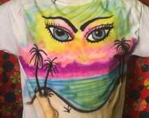 Tropical beach airbrushed tshirt size medium