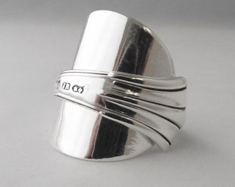 Beautifully Unusual Handmade Art Deco Antique Sterling Silver Spoon Ring dated 1903 Jewellery Unique Gift