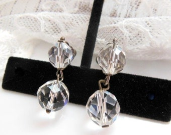 Vintage Faceted Clear Crystal Bead Silver Tone Screw Back Dangle Earrings