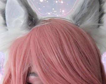 Grey Wolf- Large ears on headband
