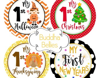 First Holiday Stickers for Baby Girl - Baby's First Holidays - Baby's First Christmas - Holiday Milestone Stickers - Baby Girl Halloween