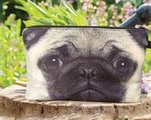 Pug, Pug pouch, dog bag, dog purse, dog clutch, dog lover bag, dog portrait bag, makeup bag, PD-204