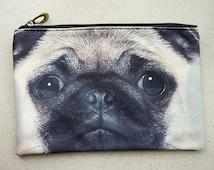 Pug, Pug pouch, dog bag, dog purse, dog clutch, dog lover bag, dog portrait bag, makeup bag, PD-204