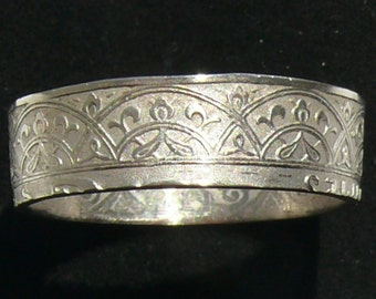 1921 Morocco 25 Centimes Coin Ring, Ring Size 9 and Double Sided