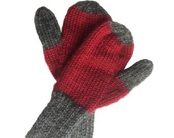 Mittens-Hand Knit, Hand Knit Children's Mittens, Girls-Boys Hand Knit Mittens, Pre-School Mittens, Back to School Mittens, Red-Gray Mittens
