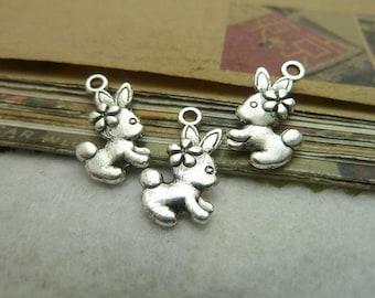 50pcs 12*18mm antique silver  rabbit charms pendant C7284