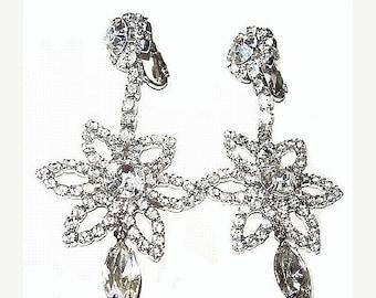 "Rhinestone Dangle Clip On Earrings Flower Design Silver Metal Weddings Prom 3"" Vintage"