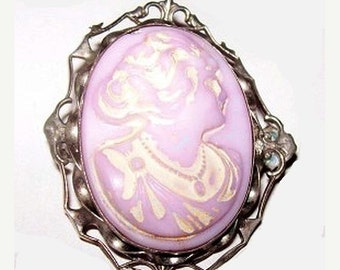 "Victorian Lady Cameo Brooch Pink Burmese Glass White Enamel Silver Sterling 1 3/4"" Vintage"