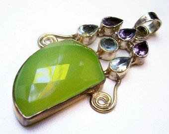 "Green Chalcedony Sterling Silver Pendant Amethyst & Blue Topaz Gemstones 2 1/2"" NOS Vintage"
