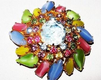 "Pastel Flower Circle Brooch Pin Pink Green Blue Yellow Rhinestones Gold Metal 2 1/4"" Vintage"