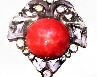 Red Coral Brooch Signed Artisan NY Clear Rhinestones Pot Metal 2' Vintage