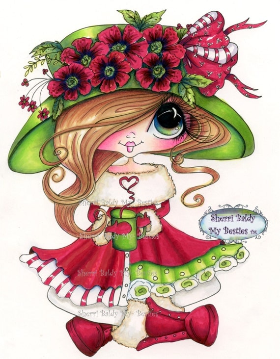 INSTANT DOWNLOAD Digital Digi Stamps Big Eye Big Head Dolls Digi  Img921 Christmas By Sherri Baldy