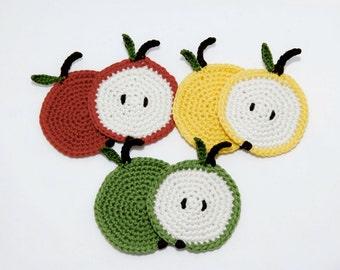 Set Of 6 Apple Coaster-Kawaii-Crochet Food-Crochet Apple-Home Decor-Coaster-Christmas Gift-Kitchen Decor-Birthday gift-Co Worker Gift
